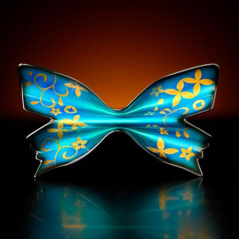 金属製 蝶ネクタイ Metal Butterfly (メタルバタフライ) パピリオ・ユリシス ブルー ウラ