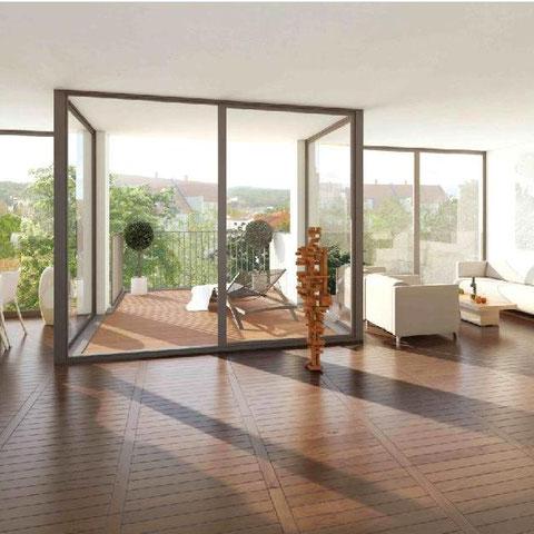 Eigentumswohnungen Potsdam Verkauf 2014/ 2015, Beispiel Wohnbereich