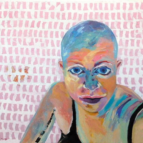 """sigrid hutter, """"drachenläuferin"""", 2017, 100 x 140 cm, acryl auf leinwand – erlas galerie"""