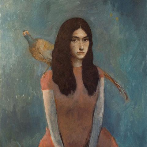 """roger schindler, """"mädchen mit fasan"""", 2013, 85 x 78 cm, öl auf leinwand – galerie erlas"""