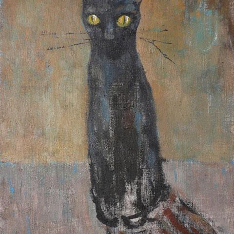 """roger schindler, """"katze"""", 2014, 40 x 30 cm, öl auf leinwand – galerie erlas"""