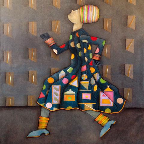 """michou hutter, """"laufende figur 1"""", 2016, 145 x 110 cm, öl auf leinwand – erlas galerie"""