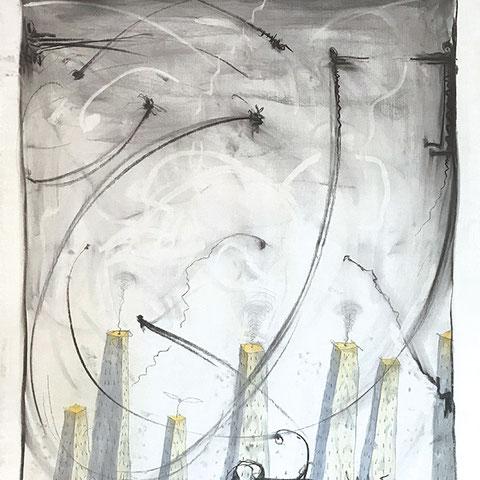 """walter schmögner, """"sirenen"""", 2019, 100 x 80 cm, mischtechnik auf leinwand – erlas galerie"""