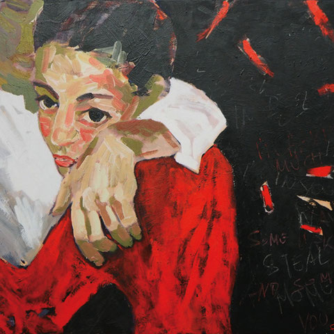 "sigrid hutter, ""sweet thing"", 2016, 100 x 150 cm, acryl auf leinwand – erlas galerie"
