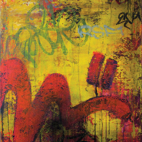 """petra polli, """"wildplakatieren verboten"""", 2009, 86 x 66 cm, acryl und lack auf leinwand – galerie erlas"""