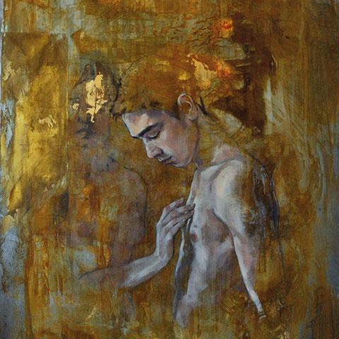 """raffaella busdon """"interaction 06 nikolas"""", 2019, öl auf oxidiertem eisen, 100 x 66 cm – erlas galerie"""