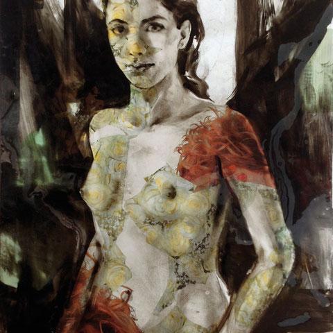 "raffaella busdon, ""giulia e la poesia"", 2016, öl auf policarbonat & collage, gerahmt, 126 x 96 cm – erlas galerie"