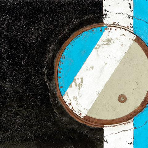 """michael scheirl, """"never mind"""", 2015, 100 x 140 cm, asphalt art/mixed media – erlas galerie"""