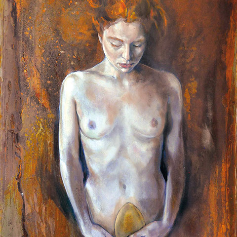 """raffaella busdon """"nascita nell'età dell'oro"""", 2020, öl & blattgold auf oxidiertem eisen, 101 x 67 cm – erlas galerie"""