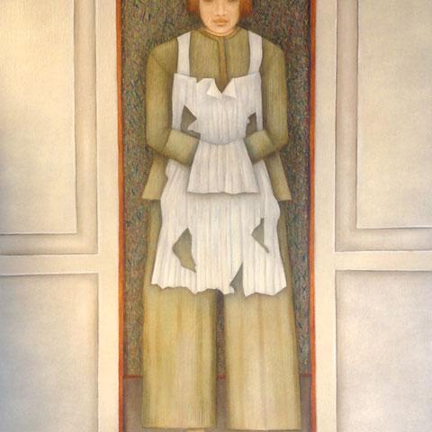 """michou hutter, """"figur mit schürze"""", 2012, 90 x 65 cm, öl auf leinwand – erlas galerie"""