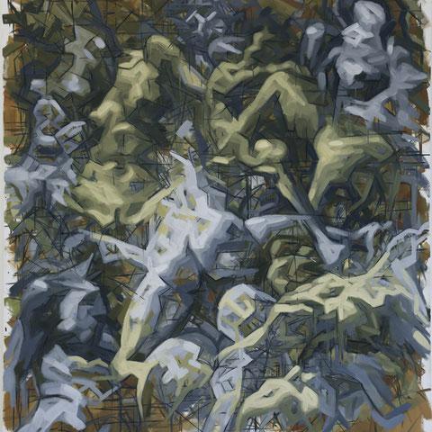 "adam bota, ""porno joker 2"", 2016, 200 x 180 cm, öl auf leinwand – erlas galerie"