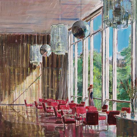 """dénesh ghyczy, """"the last cinema"""",  2021, 140 x 230 cm, oil and acrylic on canvas – erlas galerie"""