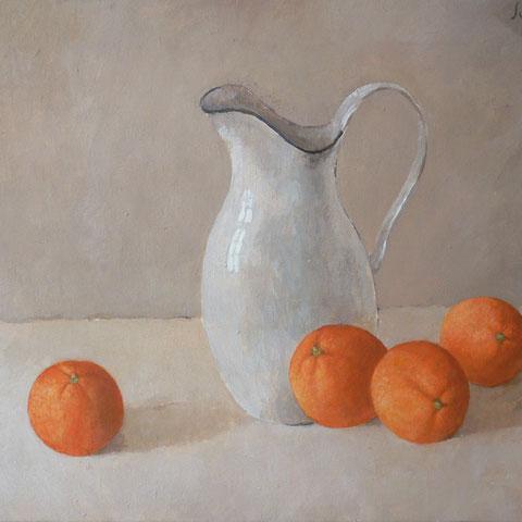 """roger schindler, """"orangen"""", 2016, 45 x 60 cm, öl auf leinwand – erlas galerie"""