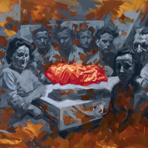 """adam bota, """"der verdacht"""", 2018, 115 x 150 cm, öl auf leinwand – erlas galerie"""