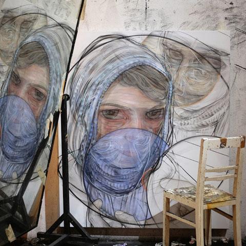 """stylianos schicho, """"undisclosed-recipients"""", 2016, kohle/acryl auf leinwand – erlas galerie"""