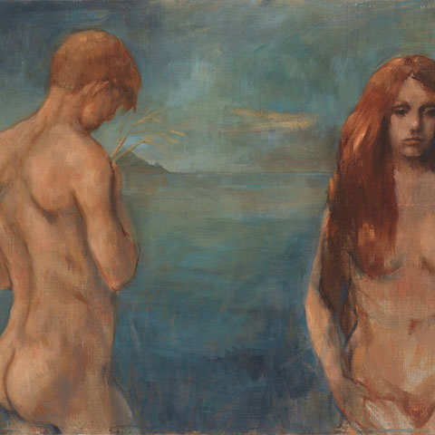 """roger schindler, """"sommernacht"""",  2018, 85 x 111 cm, öl auf leinwand – erlas galerie"""