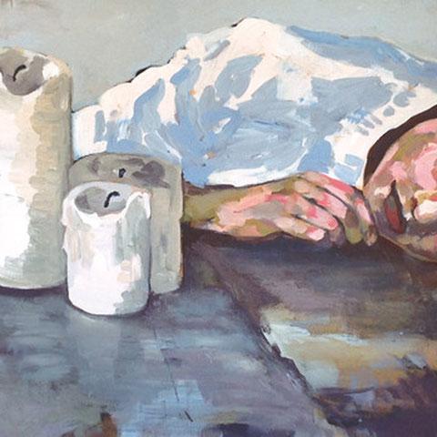 """sigrid hutter, """"der traum"""", 2015, 80 x 180 cm, acryl auf leinwand – erlas galerie"""