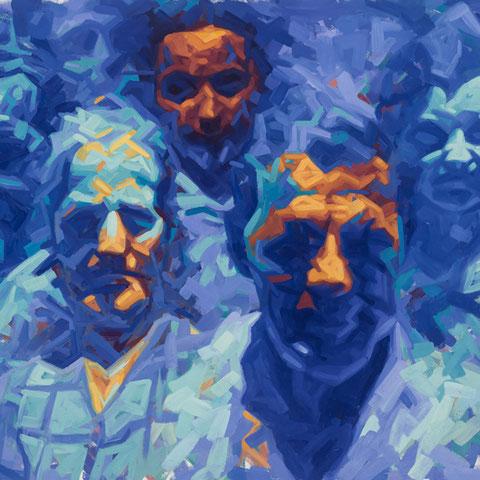 """adam bota, """"erbschleicher"""", 2015, 110 x 140 cm, öl auf leinwand – erlas galerie"""