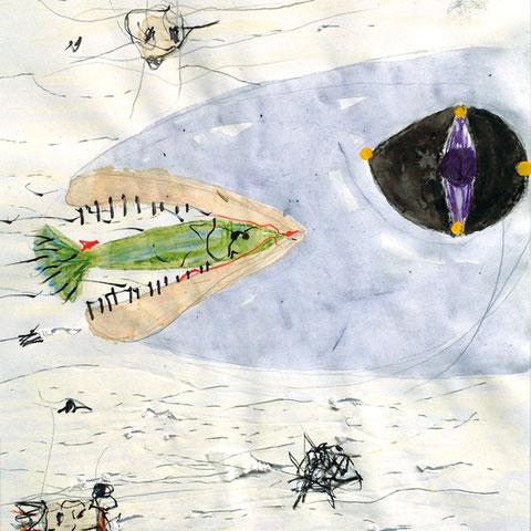 """tone fink, """"großer schluckt kleinen"""", 29,7 x 21 cm, 2009/10, mischtechnik auf papier – erlas galerie"""