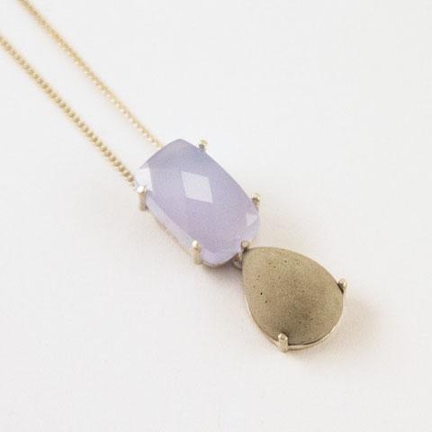 pendant, chalcedony, silver, concrete drop