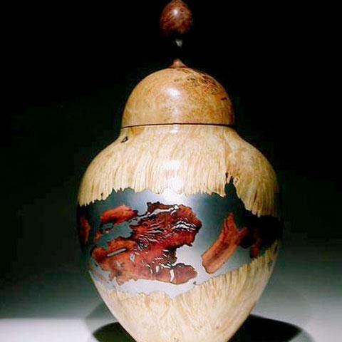 urne mosaique - loupe d'erable, buis, bruyère, étain h50cm - 1993