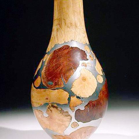 vase mosaique - loupe d'erable, buis, bruyére, étain  h 25 cm - 1997