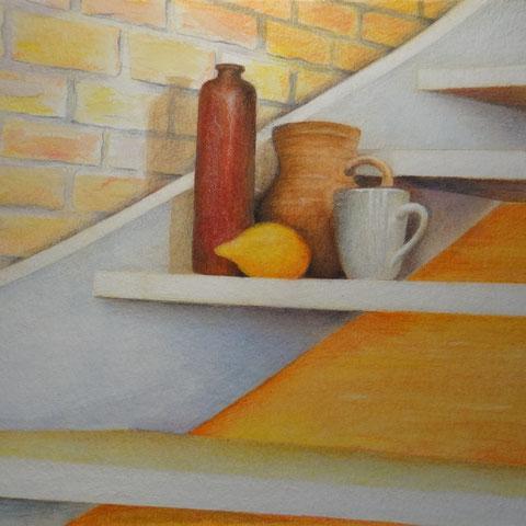 Stilleben mit Treppe 2  6.2013 Buntstift Pastell 30x40