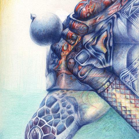 Geburt einer Schildkröte  30x21 Buntstift 3. 2009