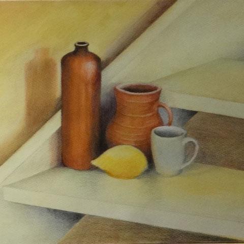 Stilleben mit Treppe 6.2013 Buntstift Pastell 30x40