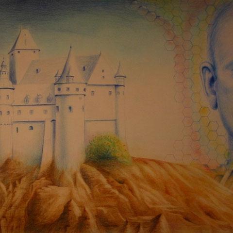 Selbstbildnis mit Burg Buntstift 40X30  1991