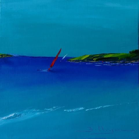alain-belleguie-red-yacht   Huile sur carton toilé 20 cm x 20 cm