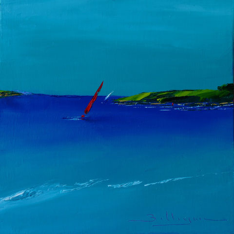 alain-belleguie-red-yacht   Huile sur carton toilé 20 cm x 20 cm (Collection privée)