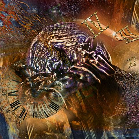 """""""The Masterbrain""""   2013, digitale Kombination aus Acrylwerk und Fotografie"""
