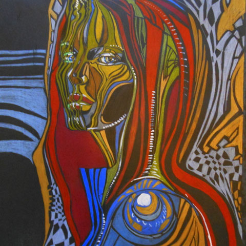 Woman /  Din A2 / Bunte Stifte , Kreide , Acryl