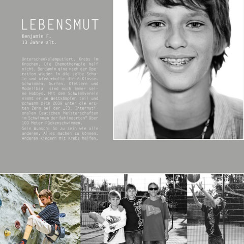 Benjamin, Krebs, Unerschenkelamputiert, Schüler, gesund