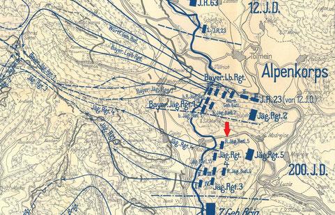 Aufmarsch, Angriff und Verlauf der Offensive im Tominer Brückenkopf am 24.10.1917 aus dem Reichsarchiv.