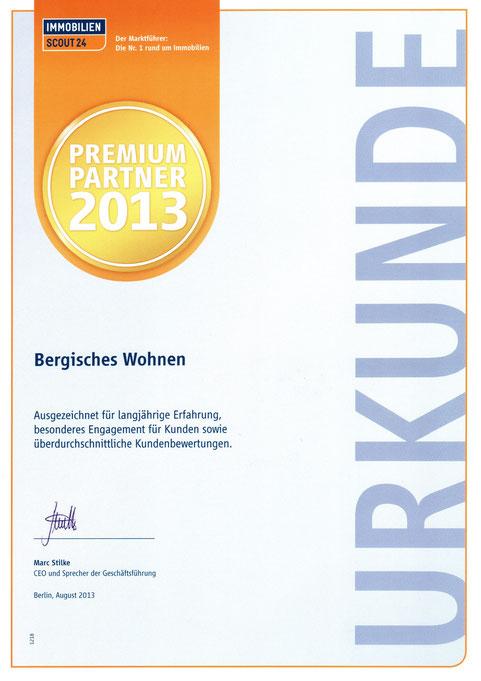 Premium Partner Bergisches Wohnen Auszeichnung 2013 Immobilienmakler Ulrike Peters