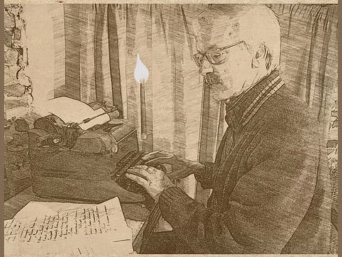 l'hiver - bougie - machine à écrire
