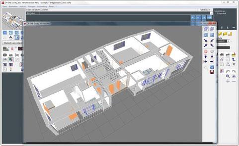 3D-Kontrollansicht eines Aufmaßprojektes