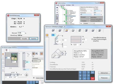 Dialoge für Dachräume, Fenster, Projektverwaltung und Kontrollmessungen
