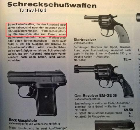 Kettner Katalog von 1969, also dem Jahr der PTB-Pflicht Einführung. Kurzzeitig wurden nur SSW mit dem Ausschuss oben (Startpistolen) frei verkauft.