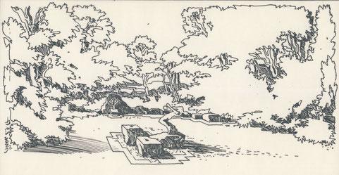 Beispiele der Natursteinsockel für Sommerausstellungen von Skulpturen (genutzt bis 1988) - Zeichnung aus dem Entwurfsprojekt.