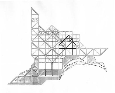Ansicht der Konstruktion mit dem Schnitt eines seitlichen Bauwerksflügels