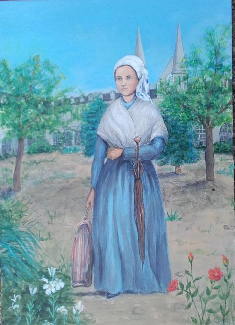 Tableau de l'arrivée de Bernadette à Nevers (actuellement en vente à la boutique de l'Espace Sainte-Bernadette à Nevers)