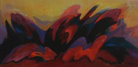 Fantasie abstract  1 & 2  -  Olieverf op doen  2 x  50 x 100 cm