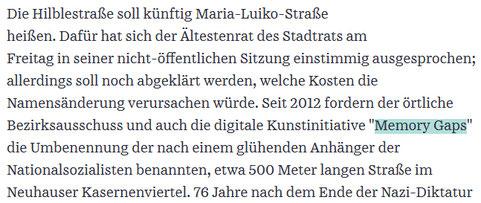Memory Gaps: Ältestenrat spricht sich für die Umbenennung der Hilblestraße aus. Snippet: Süddeutsche Zeitung, 22.01.2021