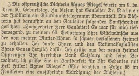 Dankschreiben von Agnes Miegel an Gauleiter Friedrich Rainer. Quelle: Salzburger Volksblatt, 1939