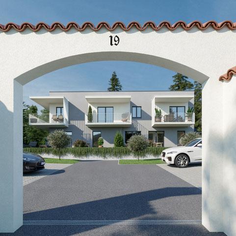 Architekturvisualisierung - Blick durch den Einfahrtsbogen zum Haus