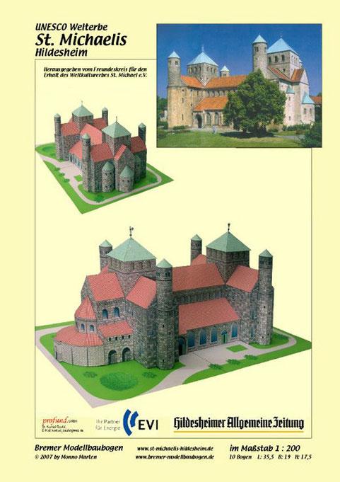 Papiermodell  der Michaeliskirche in Hildesheim, als Bastelbogen konzipiert von Monno Marten