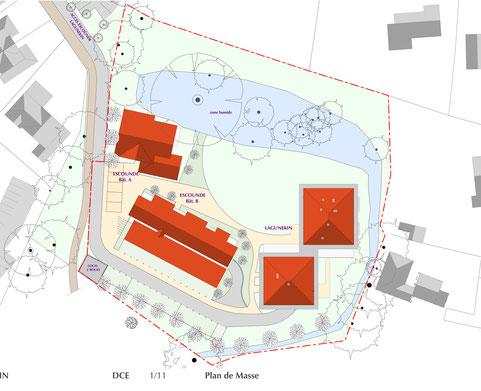 Situation du projet d'habitat participatif Lagunekin à Anglet (64) sur la parcelle, projet accompagné par Faire-Ville